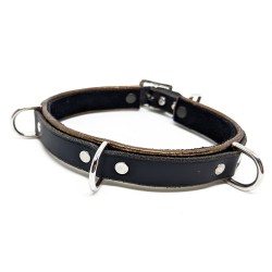 "Kitty/Day Gold Leather Collar - Triple Rings, 14"" Adjustable"